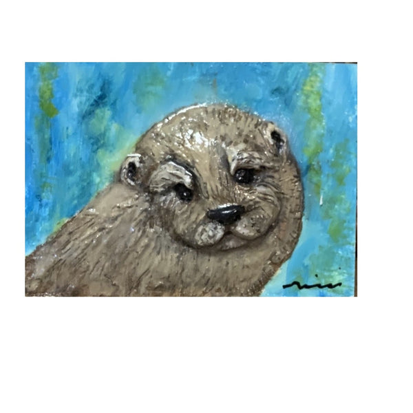 """Otter"" Polymer Clay on Encaustic Board by Rebecca Rice"