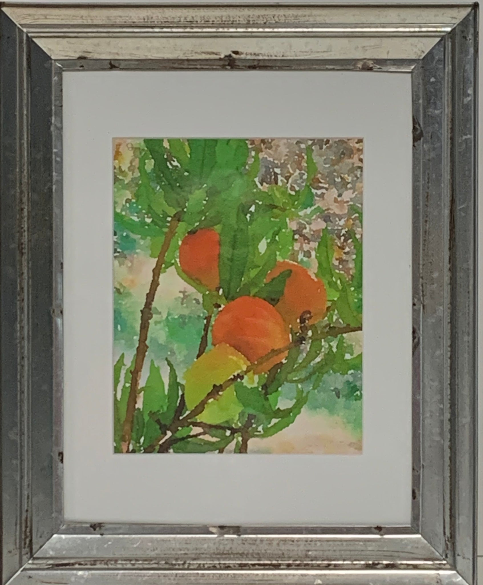 """Early Peaches"" Mixed Media Print by Sarah Bernzott"