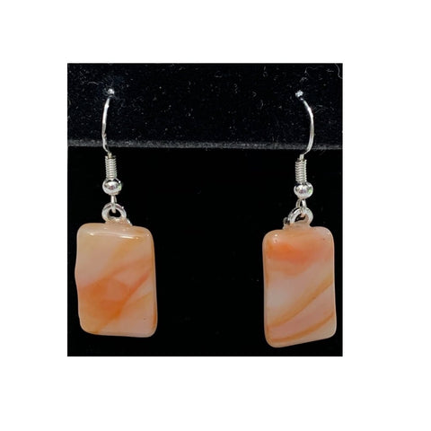 """Creamsicle"" Glass Fused Earrings"