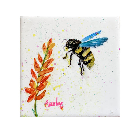 """Bee with Orange Flower"" Original Alcohol Ink on Tile by Christine Bishop"