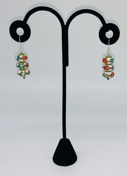 Sterling Silver Chinese  Painted Porcelain Earrings by Jules Heerlein