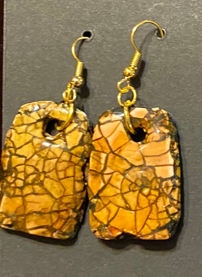 Fractured Brown Polymer Clay Earrings by Cheryl Martin