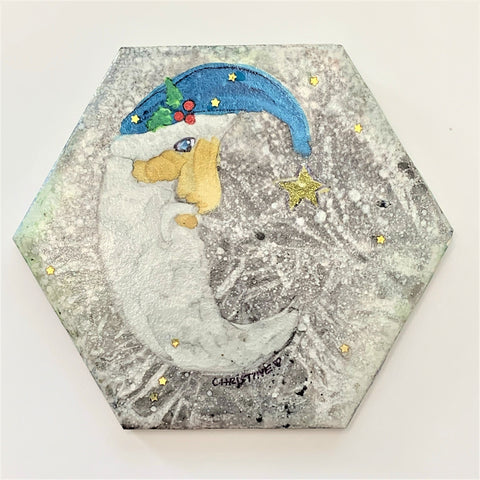 """Blue Hat Santa""  Original Alcohol Ink on Tile by Christine Bishop"