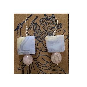 Chalcedony and Strawberry Quartz Earrings by Marianne Bramble