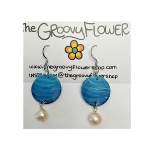 Abstract Blue with Pearls Earrings