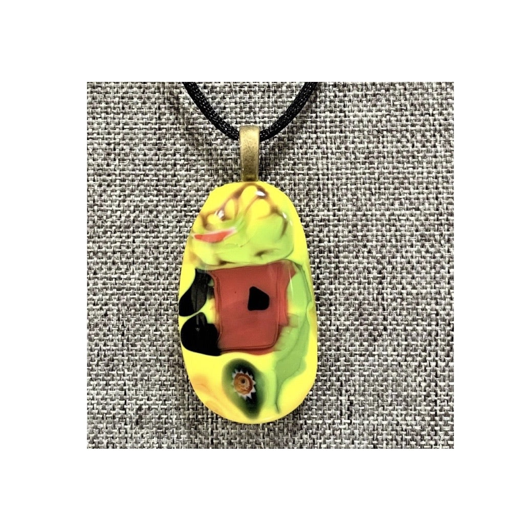 """Garden Party""Hand-Cut Fused Glass Necklace"