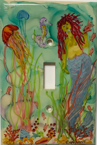 Mermaid and Jelly Fish Switch Cover by Christine Bishop
