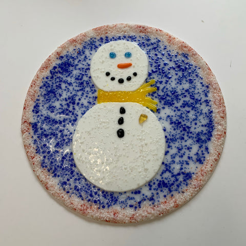 Hand-cut Fused Glass Snowman Plate by Twisted Sisters