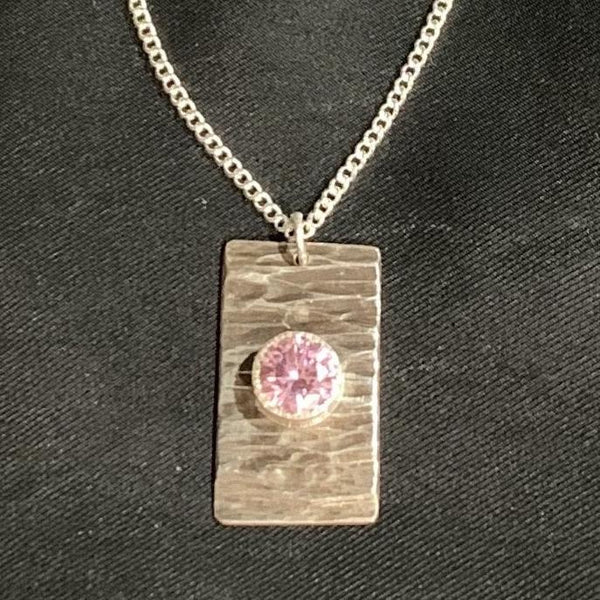 3.05 Carats 8mm Round Pink Sapphire on .925 Fine Silver Curb Chain