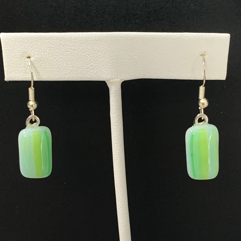 Vertical Green/Yellow Stripe Glass Fused Earrings