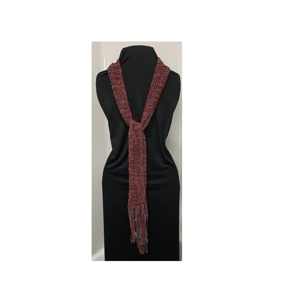 Deep Red/Teal Novelty Yarn Hand Knitted Scarf