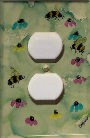 Three Bees and Flowers Outlet Cover by Christine Bishop