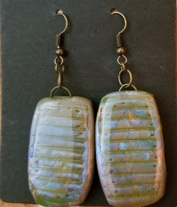 Gray Patterned Polymer Clay Earrings by Cheryl Martin