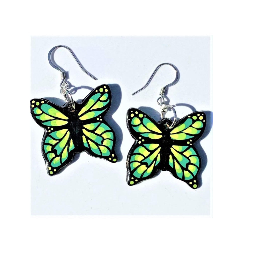 Medium Butterfly Earrings - Green