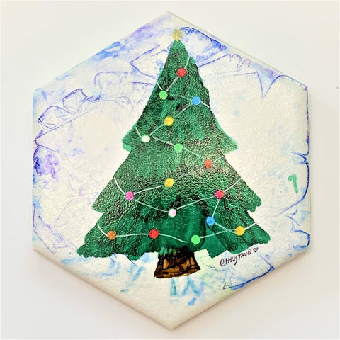 """Christmas Tree I""  Original Alcohol Ink on Tile by Christine Bishop"