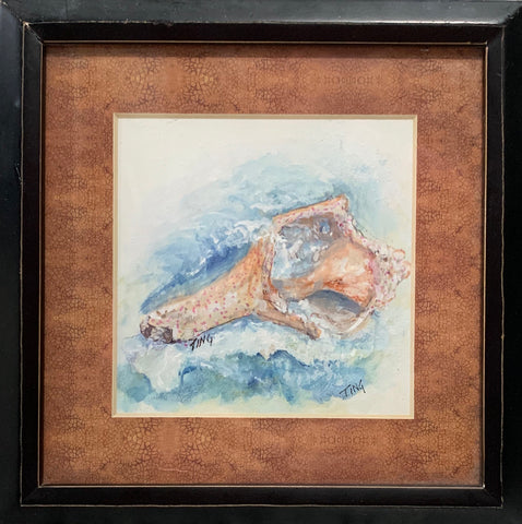 """Weathered Tybee Conch"" Original Gouache Painting by Ting Blessington"