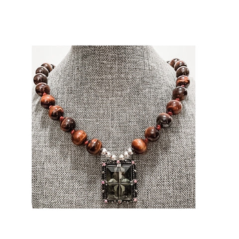 Red Tiger Eye with Smoky Quartz Pendant Necklace by Marianne Bramble