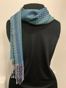 Deep Teal Handwoven Dressy Tensel and Glass Beaded Scarf