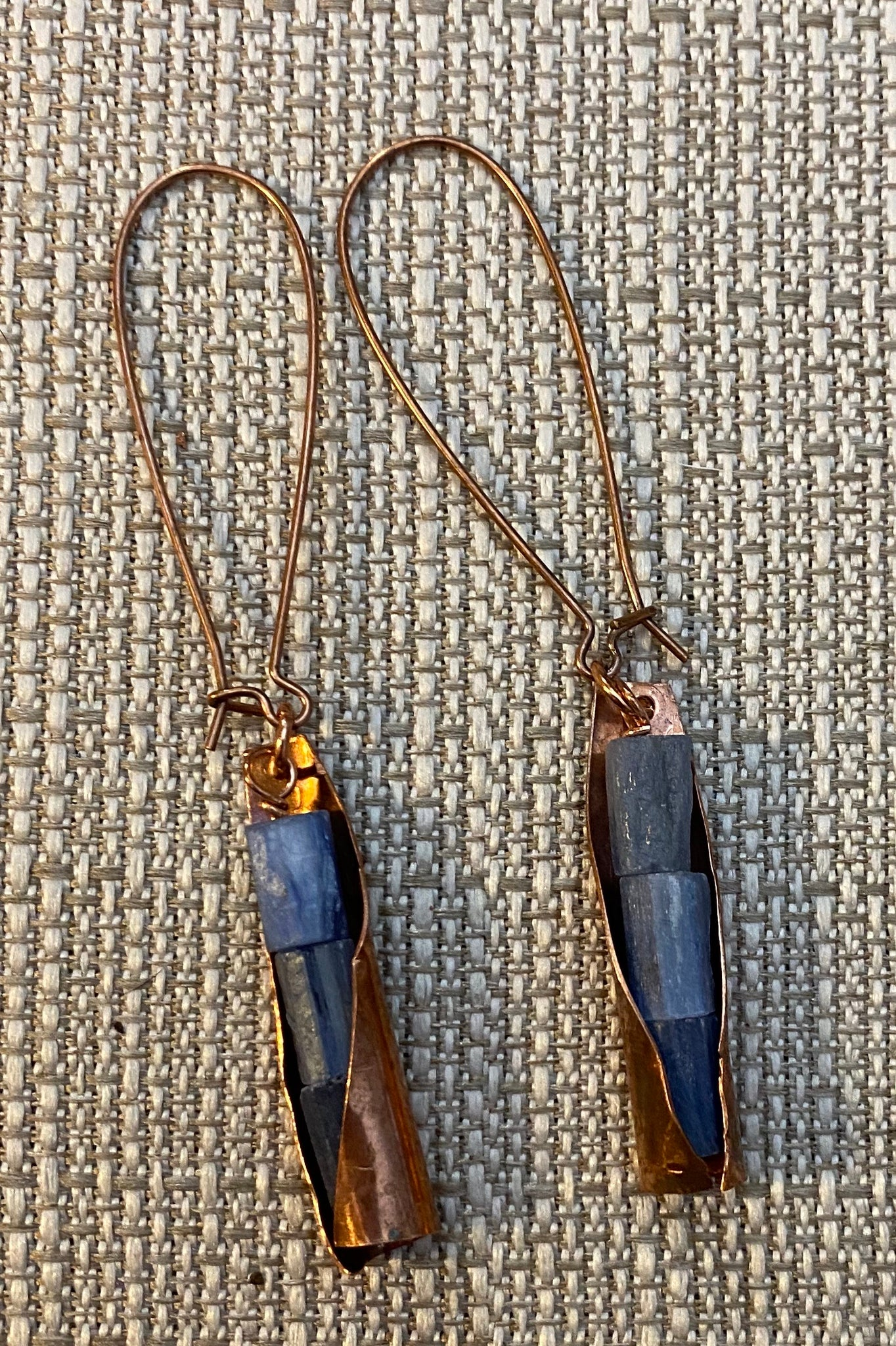 Recycled Copper Kyanite Nugget Drop Earrings by Sarah Bernzott