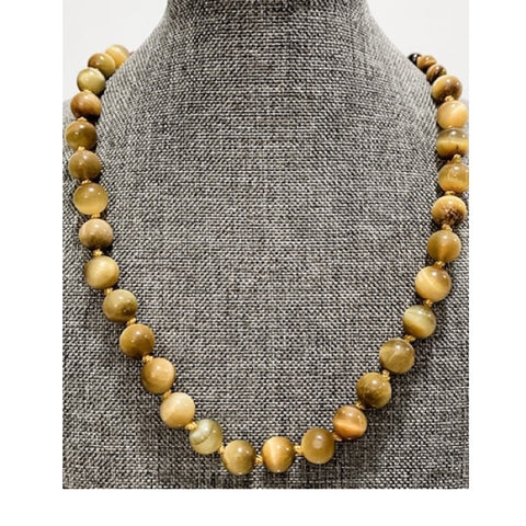 Knotted Silk Graduated Brown and Golden Tiger Eye Necklace by Marianne Bramble