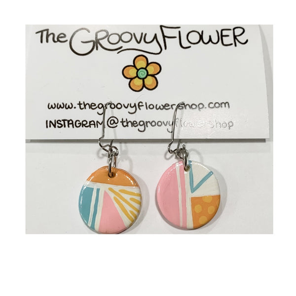 """Abstract Thoughts"" Polymer Clay Drop Earrings by Corrine Dowd"