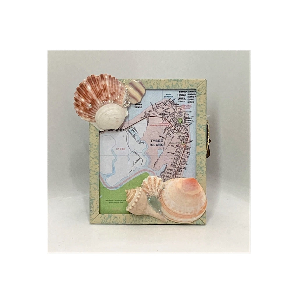 Map of Tybee in Frame  Embellished with Sea Shells