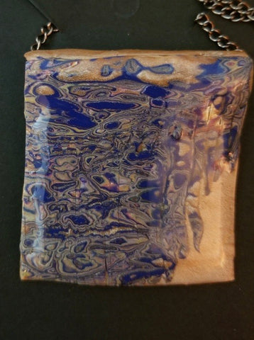 Gold & Blue Polymer Clay Pendant by Cheryl Martin