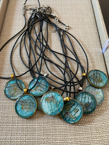 Tybee Map Necklace Set in Resin