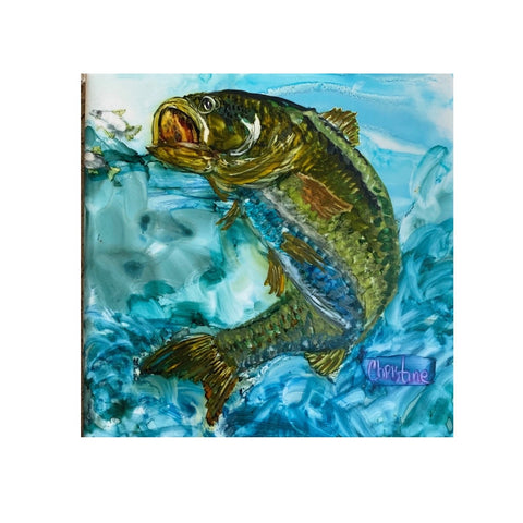 """Trout II"" Original Alcohol Ink on Tile by Christine Bishop"