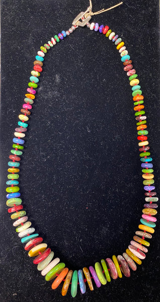 Graduated Dyed Howlite Knotted Necklace by Marianne Bramble