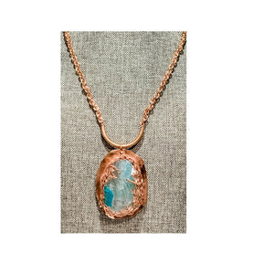 Copper Necklace with Handwrapped Copper and Blue Agate Pendant by Sarah Bernzott