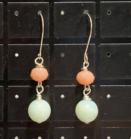 Amazonite and Glass Earrings Sarah Bernzott