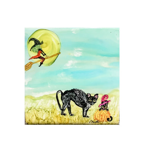 """Witch Flying to the Moon""  Original Alcohol Ink on Tile by Christine Bishop"