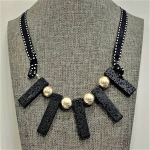 Lava Stones and Silver Beads on Ribbon Necklace