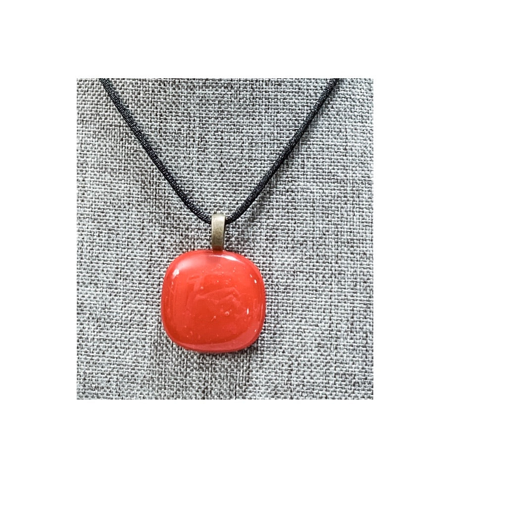Red Square Hand-cut Fused Glass Necklace