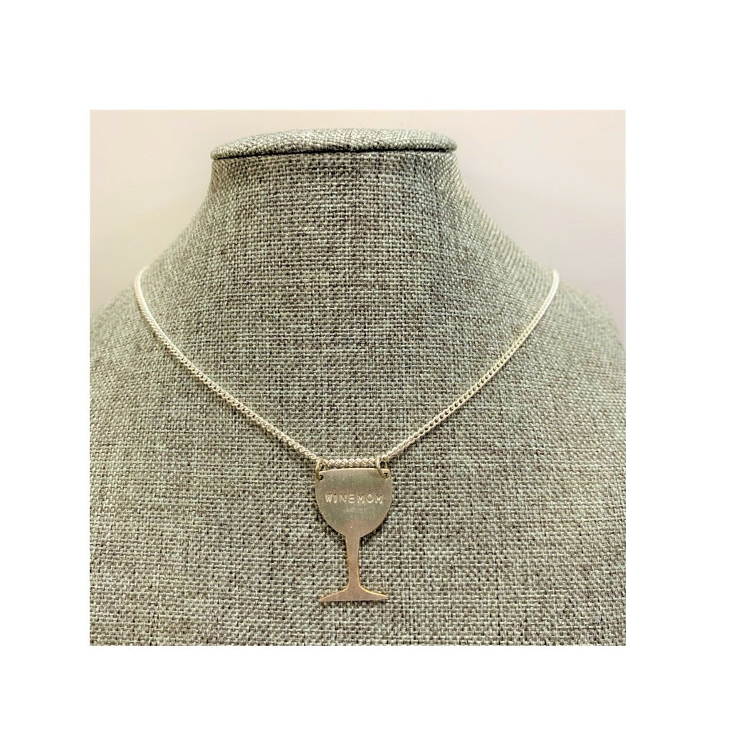 """Winemom"" Pendant on Solid Silver Curb Chain"