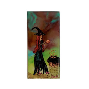 """Witch Conjuring Spell""  Original Alcohol Ink on Tile by Christine Bishop"