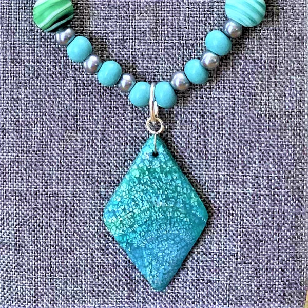 Teal Polymer Clay Pendant Necklace