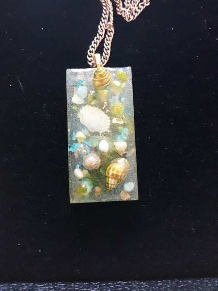 Resin Shells and Stone Beach Memories Necklace