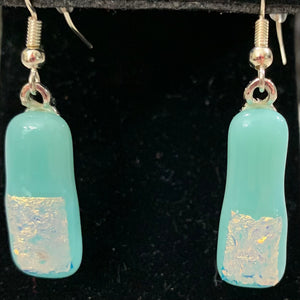 Soft Teal and Dichroic Rectangular  Earrings