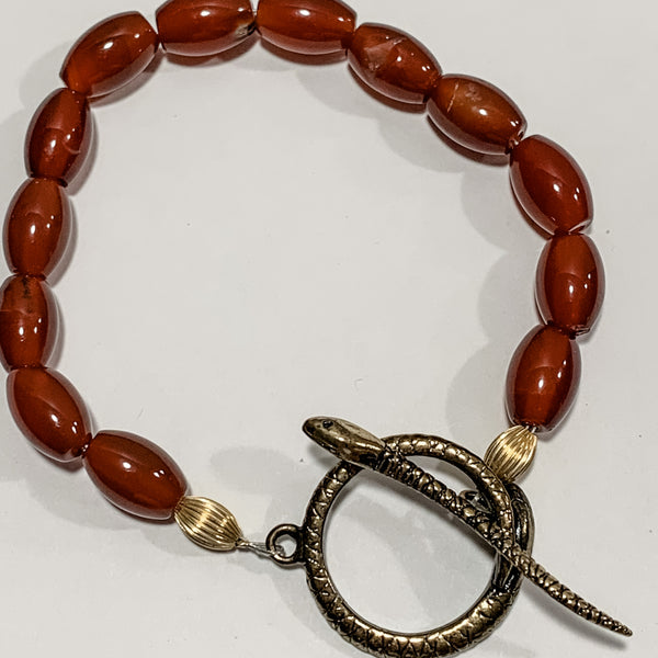 Red Agate with Snake Clasp Bracelet by Sarah Bernzott