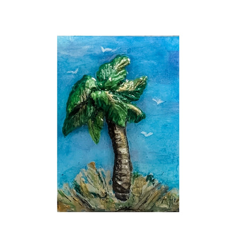 Small Tybee Palm Tree Decorative Acrylic Magnet by Rebecca Rice