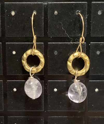 Lavender Amethyst on Vintage Circle Comp Earrings Sarah Bernzott