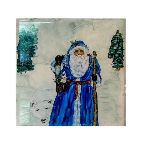 """Blue Santa""  Original Alcohol Ink on Tile by Christine Bishop"