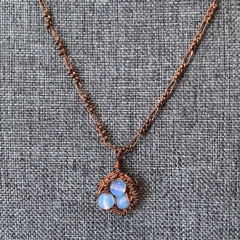 Copper Bird Nest Pendant Necklace
