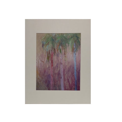 """Three Palms"" Matted Oil Print by Patricia Geary"
