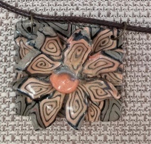 Unique Polymer Clay Makume Gane Necklace by Cheryl Martin