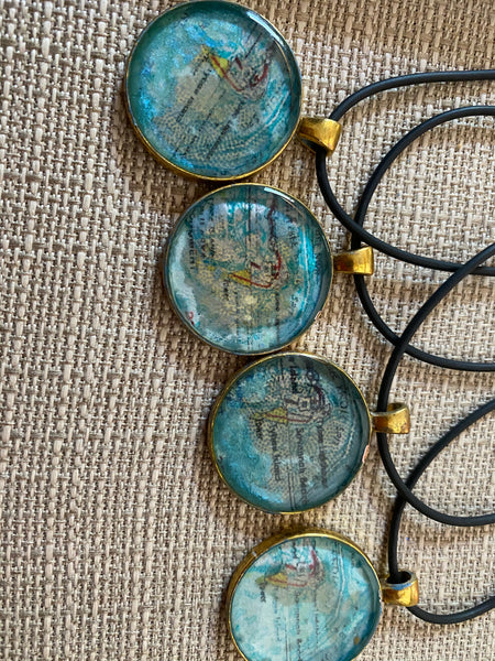 Tybee Map Necklace Set in Resin by Mary Helmly