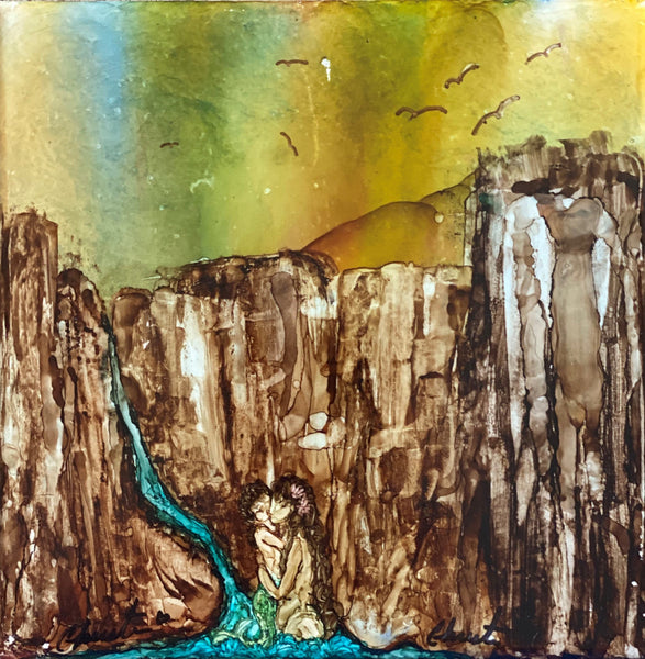 """Canyon"" Original Alcohol Ink on Tile by Christine Bishop"