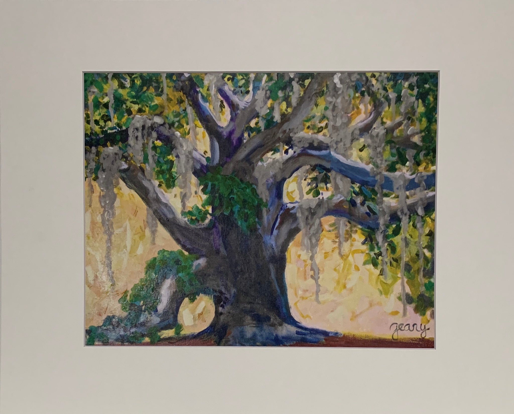 """Live Oak"" Matted Oil Print by Patricia Geary"